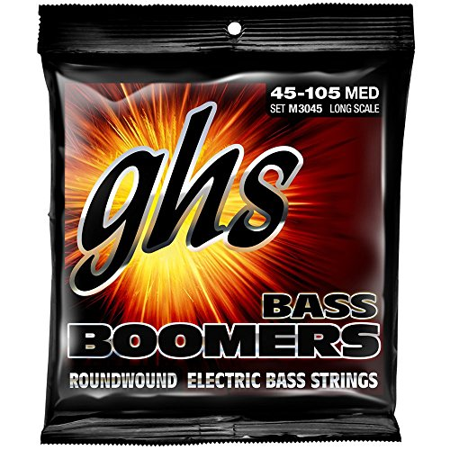 GHS Strings M3045 4-String Bass Boomers, Nickel-Plated Electric Bass Strings, Long Scale, Medium (.045-.105) ()