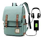 Vintage Business Travel Laptop Backpack for Women Men, Fashion College School Bookbag with USB Charging Port & Headphone Jack, Professional Computer Rucksack Fit for 15.6inch Notebook Tablet (Green)