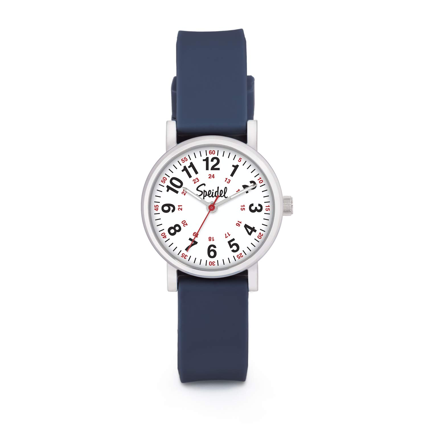Speidel Women's Navy Blue Scrub Petite Watch for Medical Professionals Easy to Read Small Face, Luminous Hands, Silicone Band, Second Hand, Military Time for Nurses, Students in Scrub Matching Colors by Speidel