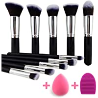 BEAKEY Makeup Brush Set Premium Synthetic Kabuki Foundation Face Powder Blush Eyeshadow Brushes Makeup Brush Kit with Blender Sponge and Brush Egg (10+2pcs,Black/Silver)