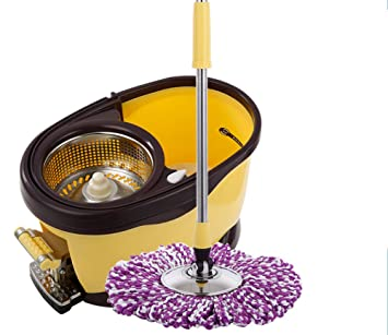 Easy Wring and Clean Turbo Microfibre Mop and Bucket Set + 4 Mop Head,B