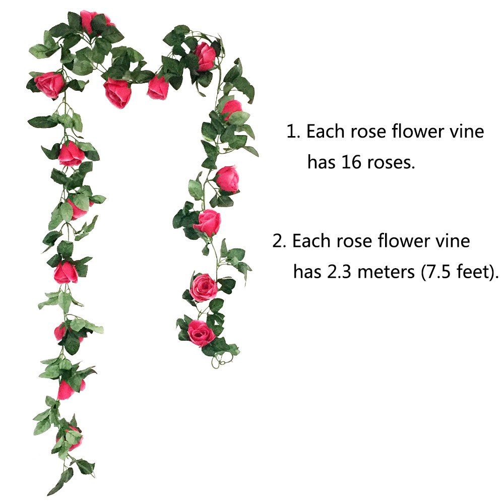 Cewor 3pcs 226 Feet Artificial Rose Vine Fake Flower Garland For
