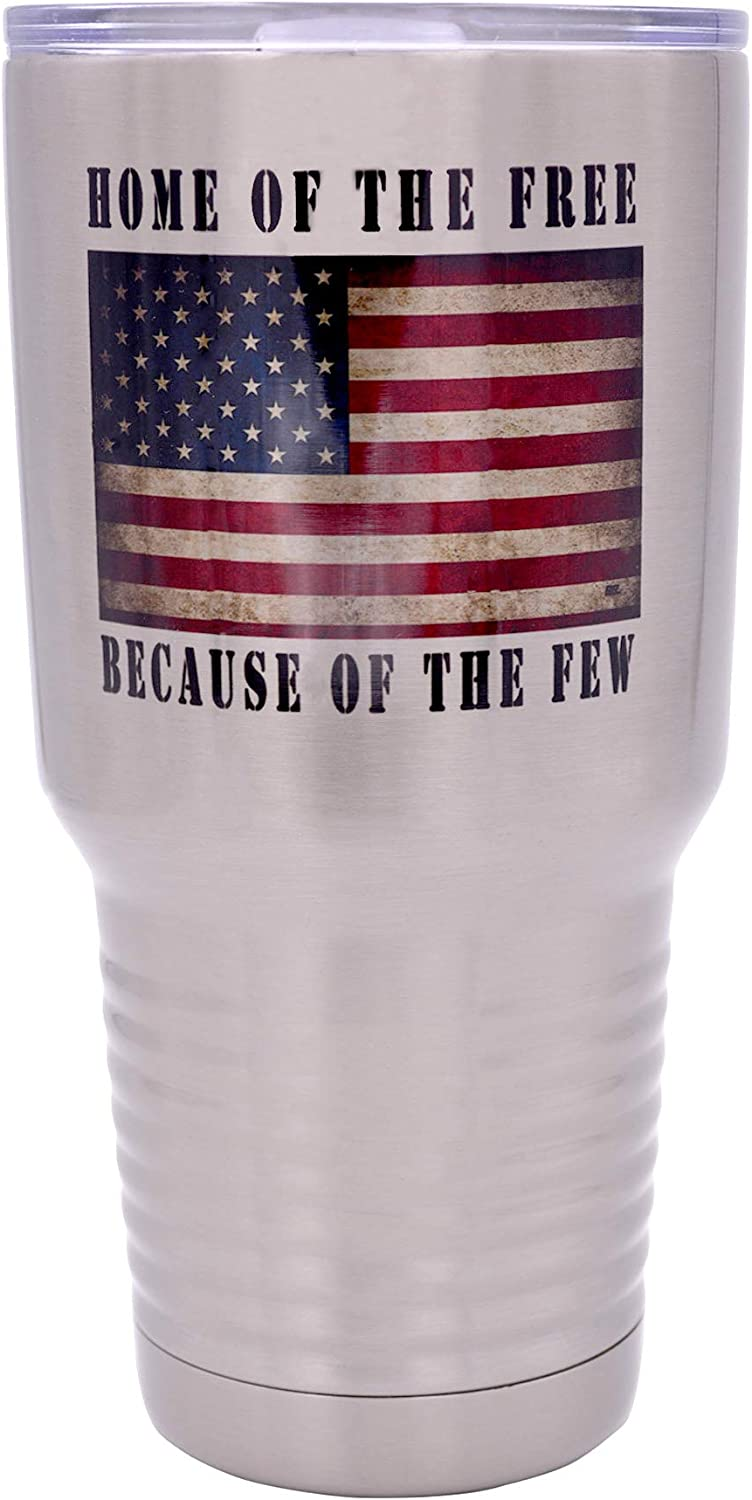Home of the Free Military Veteran 30 Oz. Travel Tumbler Mug Cup w/Lid Vacuum Insulated Hot or Cold Gift