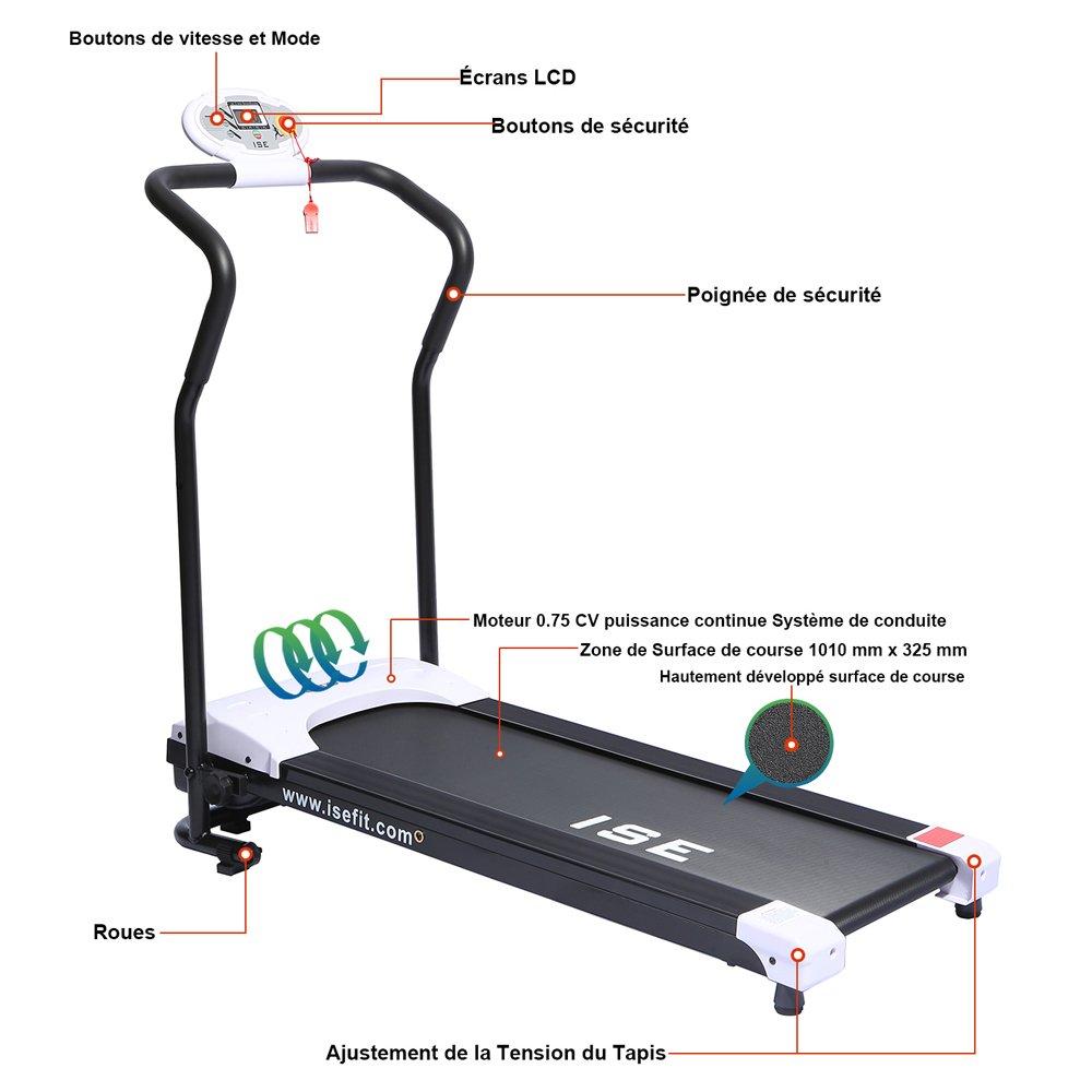 ISE Cinta de correr motorizada plegable - Motor DC 750 W - Sistema de conducción - sy-1008: Amazon.es: Deportes y aire libre