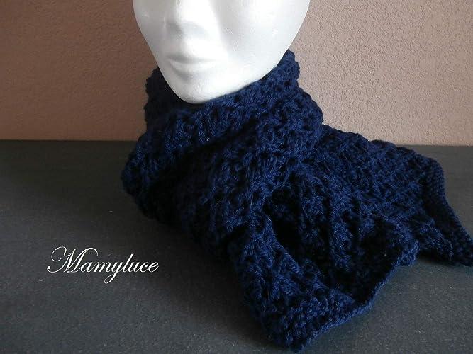 8a1b6a77773 Echarpe tour de cou femme laine bleu marine fantaisie mode accessoire hiver  cadeau noël anniversaire fêtes