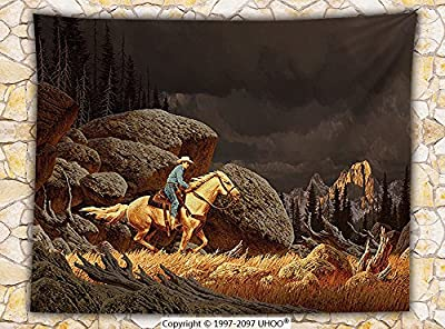 Western Decor Fleece Throw Blanket A Rock Mountain Scene Landscape with a Cowboy Riding Horse North America Style Folk Print Throw