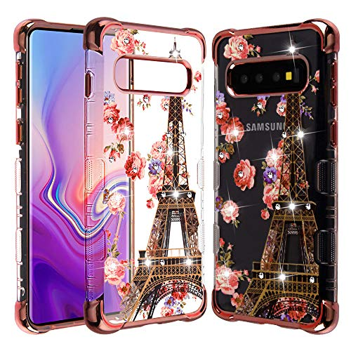 Candy Skin Cover - Microseven Compatible with Samsung Galaxy S10 Case, Galaxy S10 Cover Rose Gold Plating/Paris Diamante Tuff Klarity Candy Skin Cover
