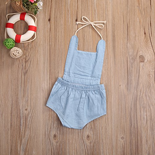 Baby Girl One Piece Tassel Jean Romper Sleeveless Backless