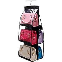 credsy 6 Pocket Large Clear Purse Handbag Hanging Storage Bag Organizer Closet Tidy Closet Organizer Wardrobe Rack Hangers Holder for Fashion Handbag Purse Pouch- Multi Colors