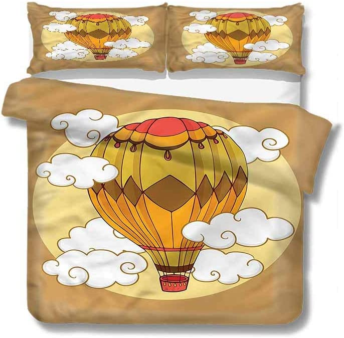 """VROSELV-HOME European Style Print Bed Set,Box Stitched,Soft,Breathable,Hypoallergenic,Fade Resistant 100% Cotton Bedspread/Quilt Set,3 Pieces-Cartoon Hot Air Balloon Retro (90"""" W x 90"""" L)"""