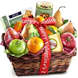 The Charmer Happy Valentines Day Fruit Basket with Cheese and Nuts