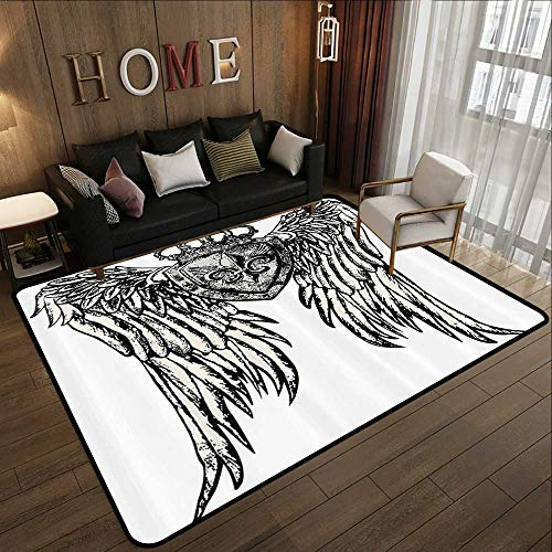 - All Weather Floor mats,Fleur De Lis Decor Collection,Tribal Tattoo Design with Wings Aged Arms Badge Crest Crown Eagle,Black and White 55