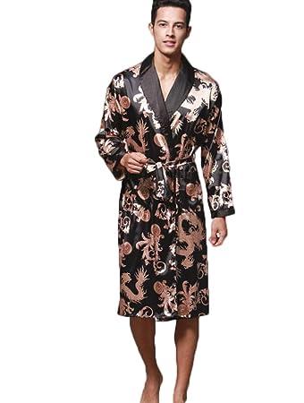 Sebaby Mens Long Sleeve Silk Spa Bathrobe Full Length Comfy Wrap Robe