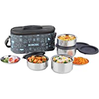 Borosil Carry Fresh Stainless Steel Insulated Lunch Box Set, 4-Piece, Blue/Grey