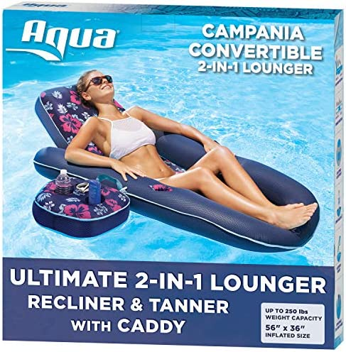 Aqua Campania Ultimate 2 in 1 Recliner & Tanner Pool LoungerAdjustable Backrest and Caddy Inflatable Pool Float Navy Hibiscus