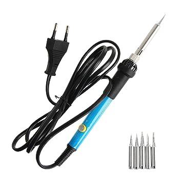 Kit de hierro de soldadura portátil 220V 60W herramientas de hierro de soldadura con función ajustable UE enchufe: Amazon.es: Bricolaje y herramientas