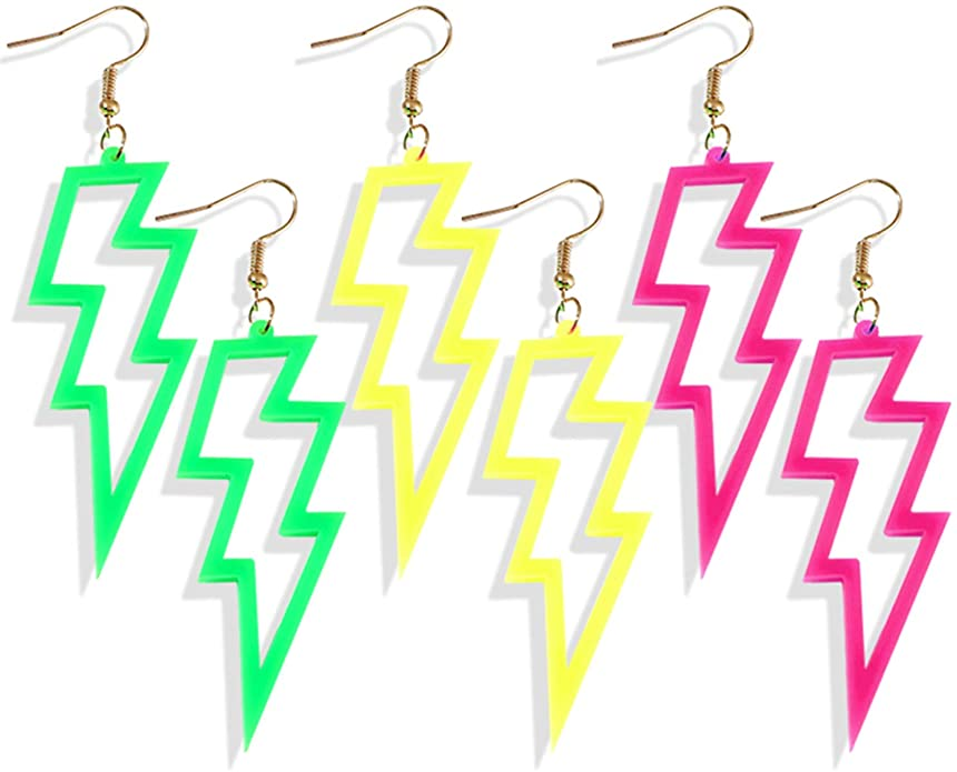 3 Pairs of Neon Fluorescent Retro Lightning Dangle Earrings for 80s Costume