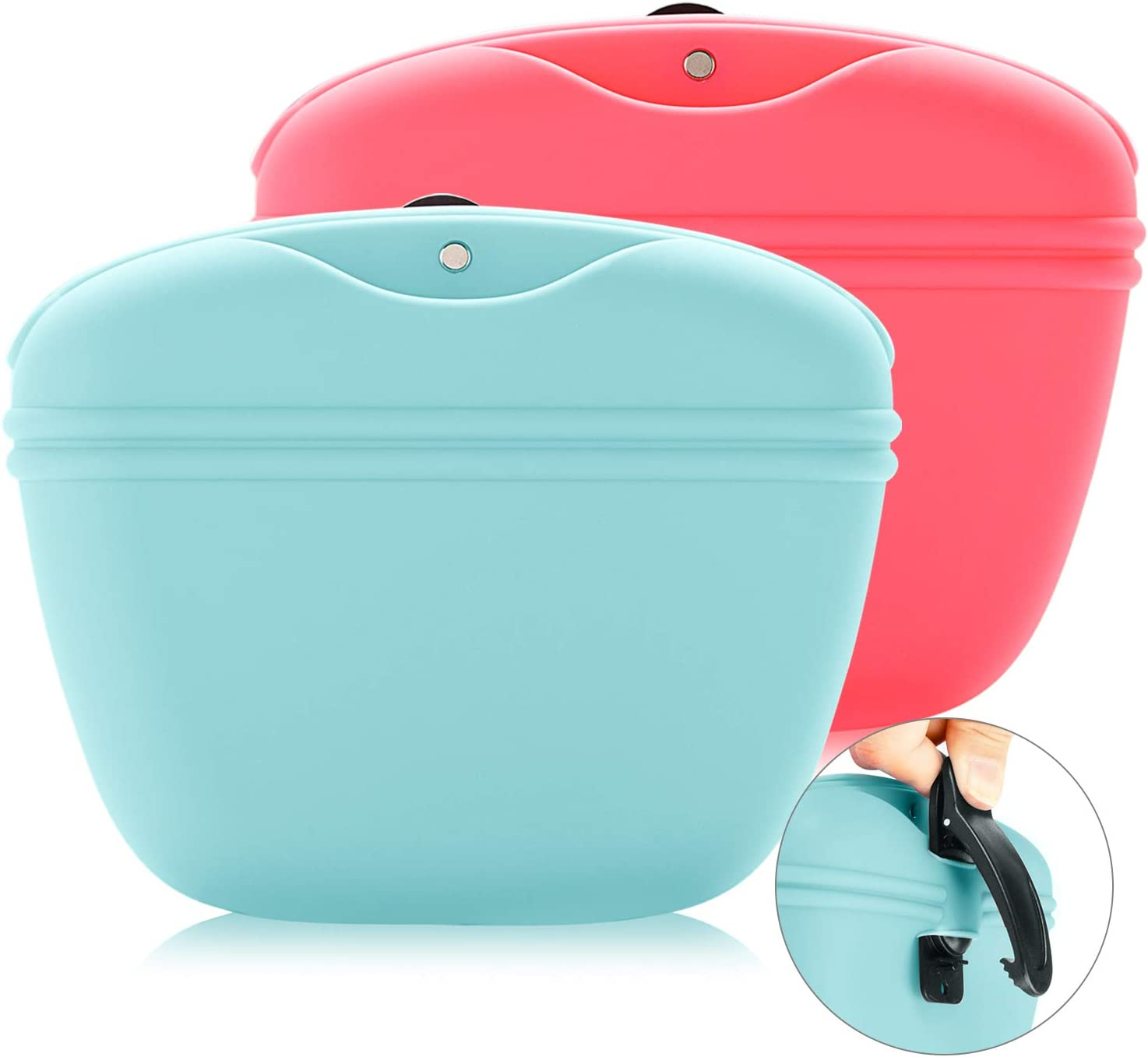 SHUNAI Dog Treat Pouch,Silicone Portable Dog Treat Bag, Food Snack Pouch Haversack,Pet Training Pocket with Clip and Magnetic Closing Two Packs Black Blue Pink Green