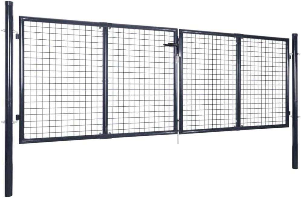 FAMIROSA Cancello per Giardino Rete in Acciaio Zincato 289x75 cm Grigio