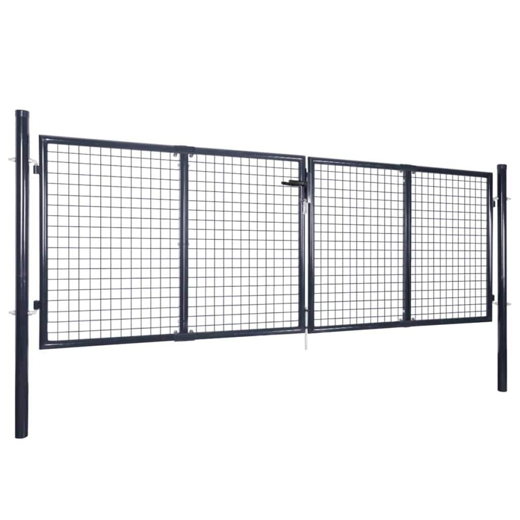 vidaXL Cancello per Giardino Acciaio Zincato 289x125cm Grigio Porta Recinzione