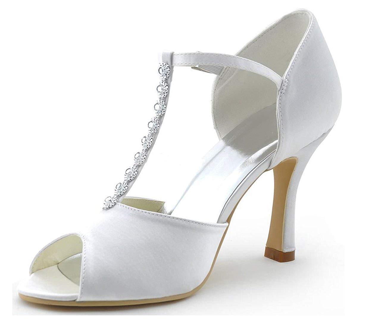 Strass T Satin Für Qiusa Damen Anlässe Strap Mode Schuhe Besondere hQxtdsBroC