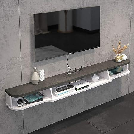 2 Nivel Consola para TV Pared,Moderno Flotante TV Mueble Gabinete Pared Colgante Consola para TV para Cable Caja Set -Top Box Gris 160x19.6x15.6cm(63x8x6inch): Amazon.es: Hogar