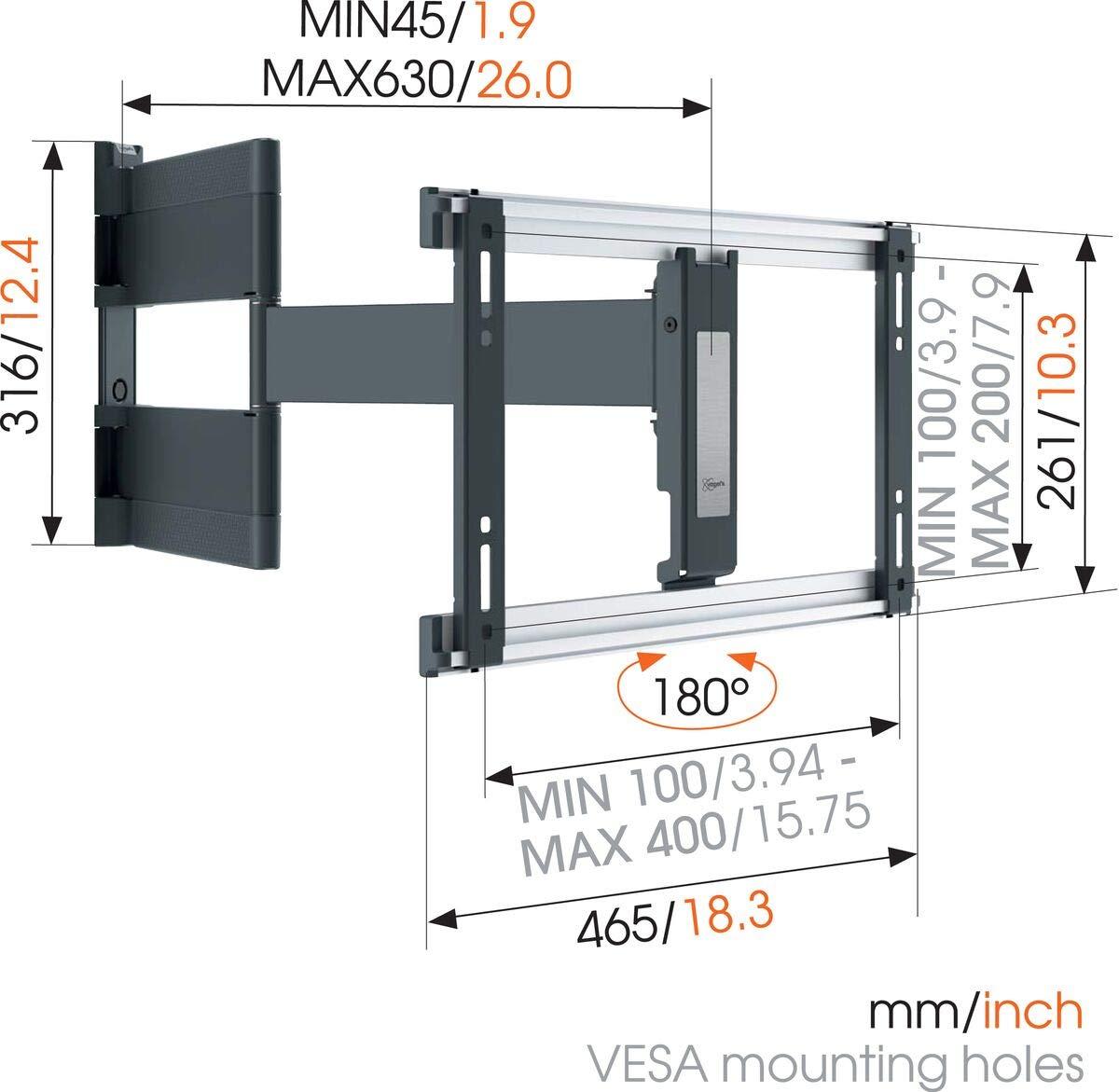 Supporto da Parete per TV da 26-55 Pollici Vogels THIN 445 Bianco Max 18 kg e fino a VESA 400x400 Inclinabile e Girevole 180/º