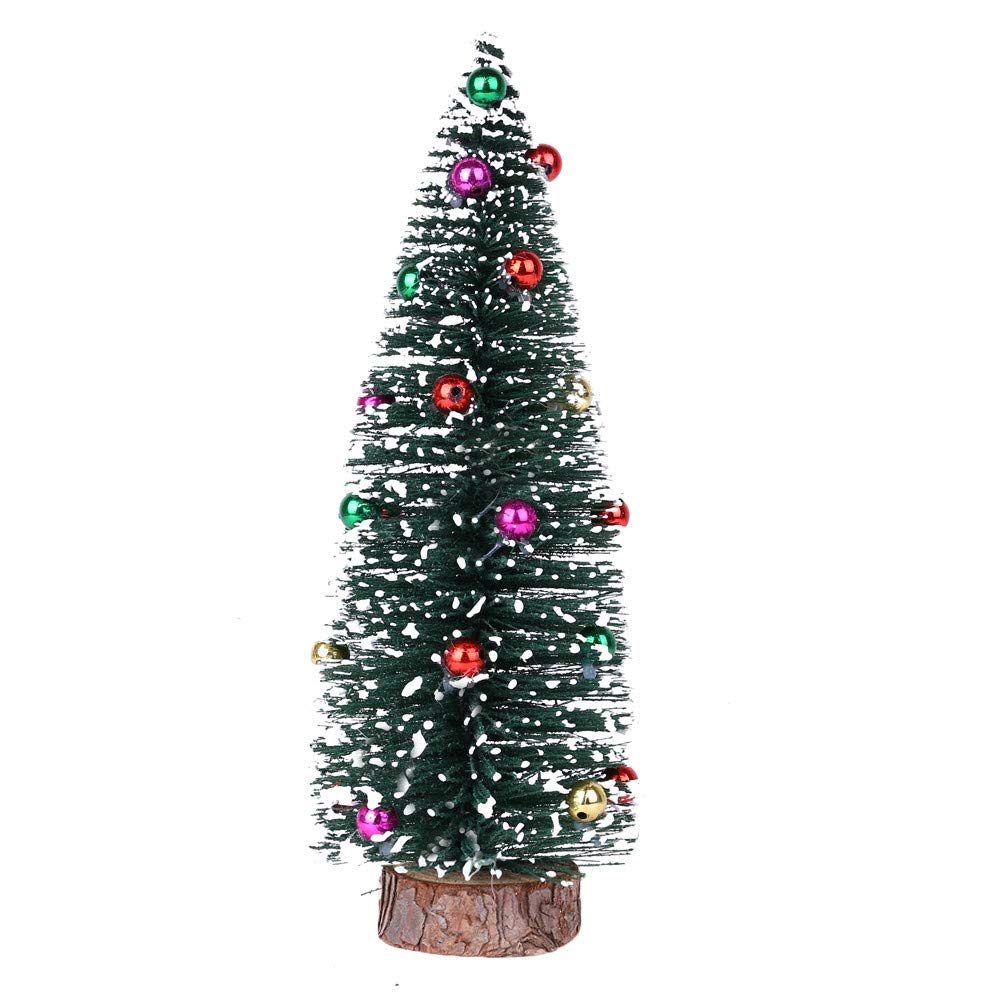 Denzar Christmas Tree, Mini Frosted Tabletop Artificial Christmas Tree with Stable Wood Base (7.8Inches)