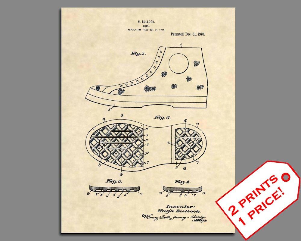 bdf4e433613e Amazon.com  Patent Prints - Converse All Stars (Chuck Taylors) Patent Art -  Sneaker Patent Art Poster (8.5 x 11