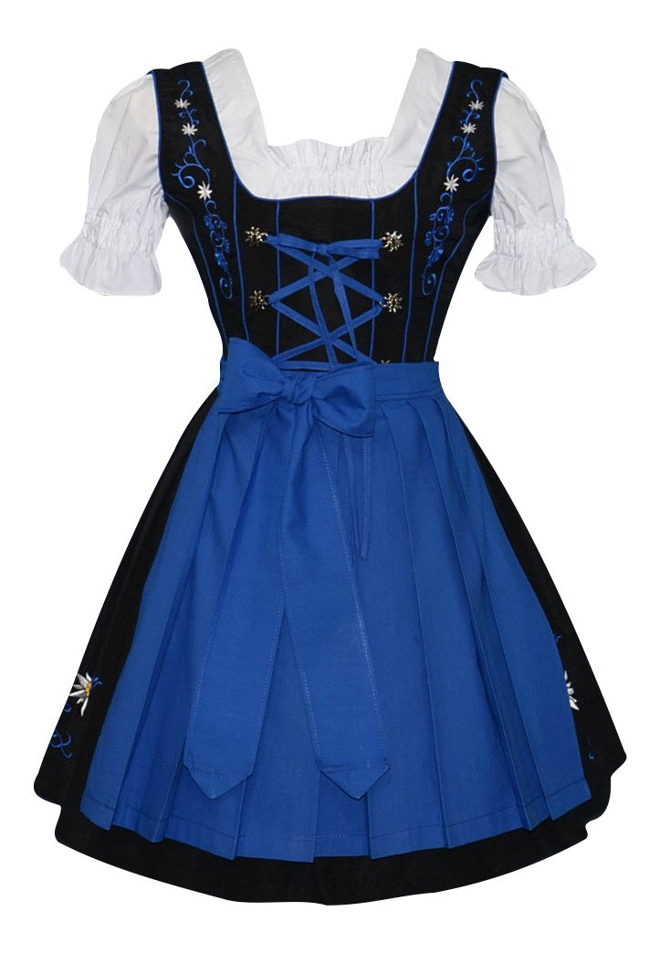 Edelweiss Creek 3-Piece German Oktoberfest Dirndl Dress, Black and Blue (18)