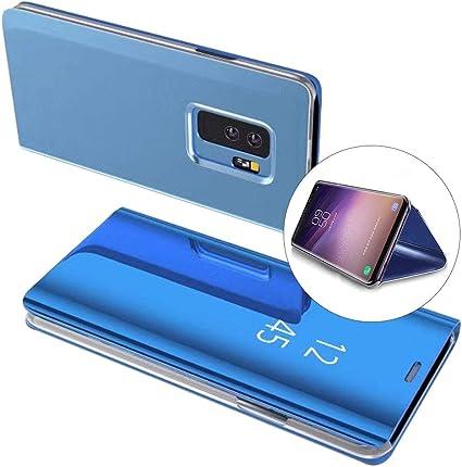 Coque Samsung Galaxy S9 Plus Rabat Transparent Clapet Mirroir Flip Cover Miroir rabat Portefeuille PU Cuir Housse Étui De Protection Galvanoplastie ...
