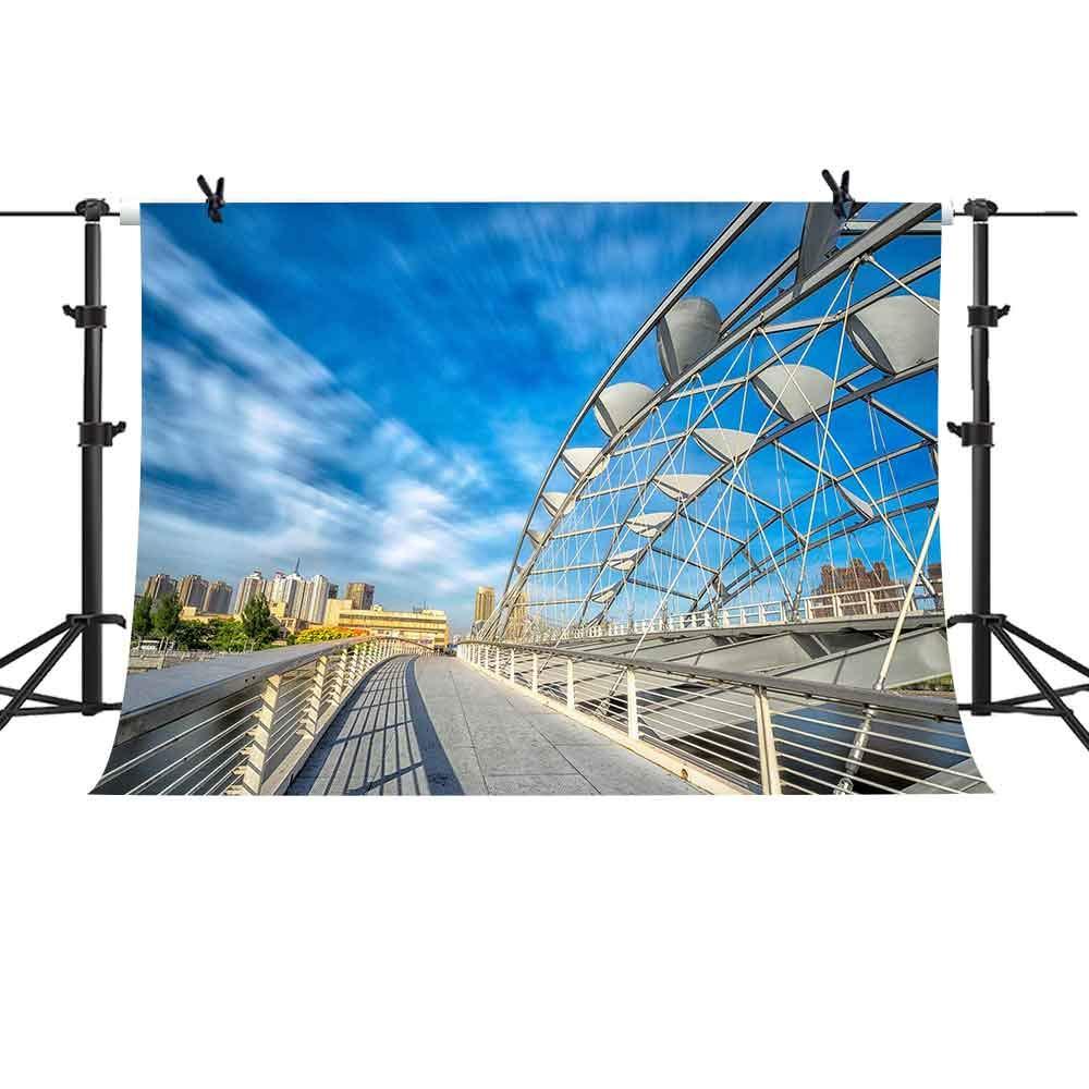 MME 10X7フィート ブルースカイクラウドシティブリッジバックグラウンド YouTube用 旅行パーティー 写真撮影用背景幕 写真ブース小道具 XCME341   B07GRKJSJS