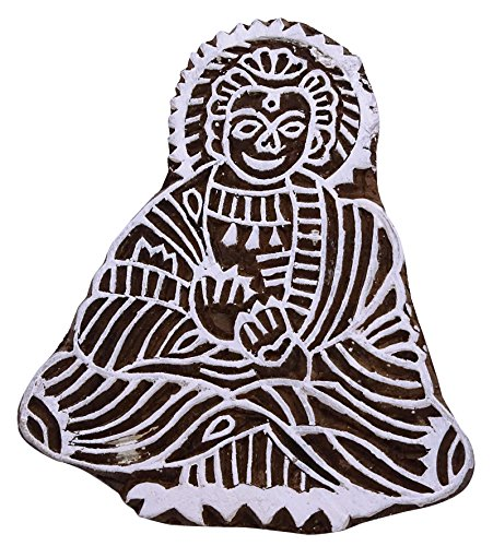 Handmade Lord Buddha Print Wooden Textile Block / Stamp Decorative Fabric Art