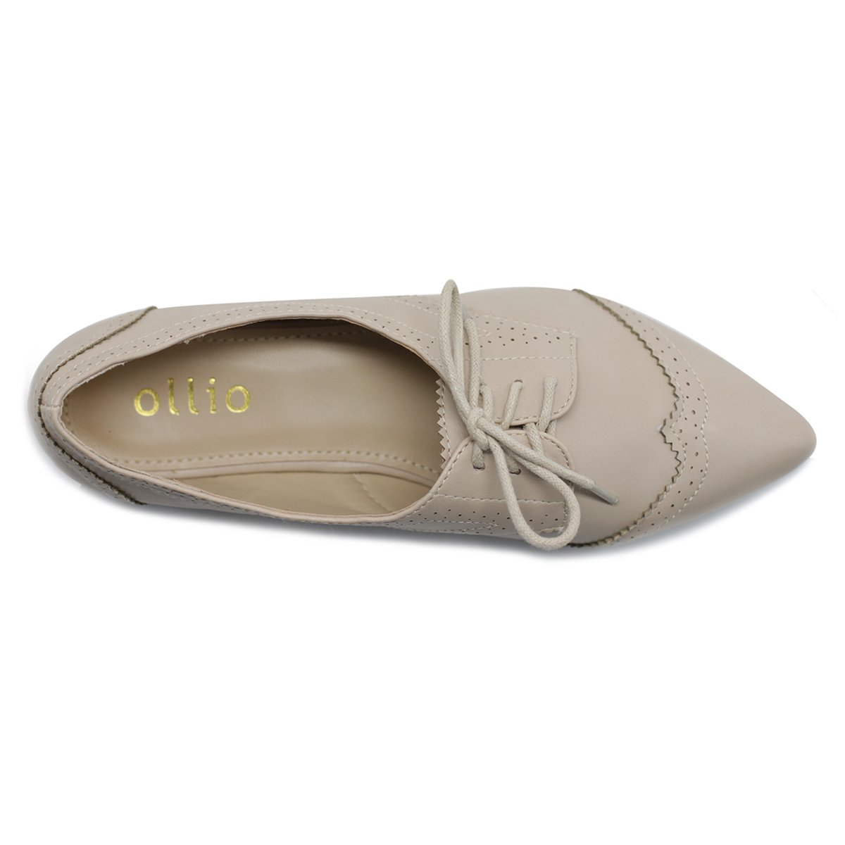 Ollio Women's Ballet Shoe Flat Enamel Pointed Toe Oxford M1818 (9 B(M) US, Beige) by Ollio (Image #6)