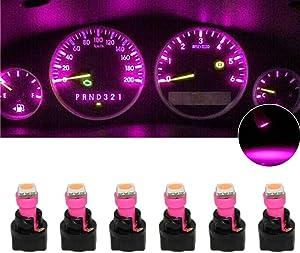 GUOORD 6 x T5 Dash Instrument Led Light Bulbs, 1-SMD Dashboard Instrument Panel Cluster Gauge Indicators Lamp Bulbs 12V w/Twist Socket (Pink)