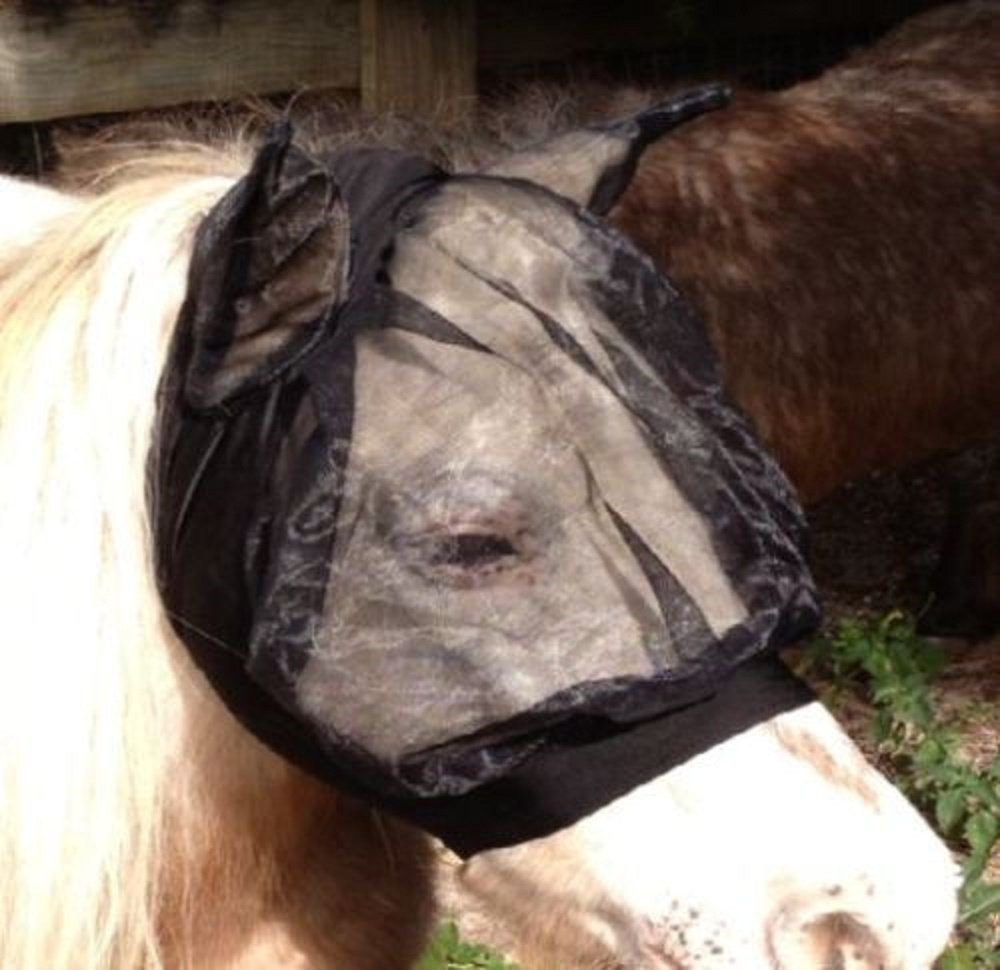 Tough-1 Mini Miniature Horse Fly Gnats Mosquitos Bug Veil Black Lycra Mask with Ears by Tough-1
