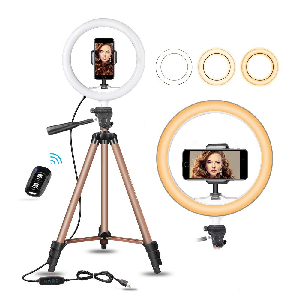 UBeesize 10'' Selfie Ring Light with 50'' Extendable Tripod Stand & Flexible Phone Holder for Live Stream/Makeup, Mini Desktop Led Camera Ringlight for YouTube Video, Compatible with iPhone/Android by UBeesize