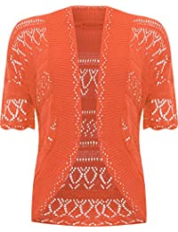 WearAll Womens Plus Size Crochet Knitted Short Sleeve Shrug Cardigan Top