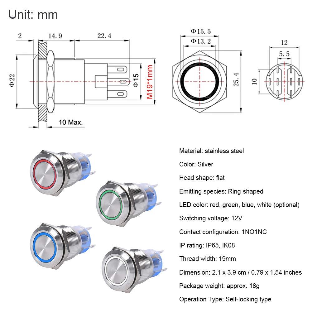 Keenso 19mm 12V Wasserdicht Edelstahl Verriegelung LED Power Druckschalter Ein//Aus Latch Taste Schalter 1NO1NC Blau