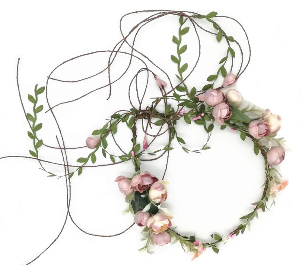 Floral Fall Adjustable Bridal Flower Garland Headband Flower Crown Hair Wreath Halo F-83 (A) by Floral Fall