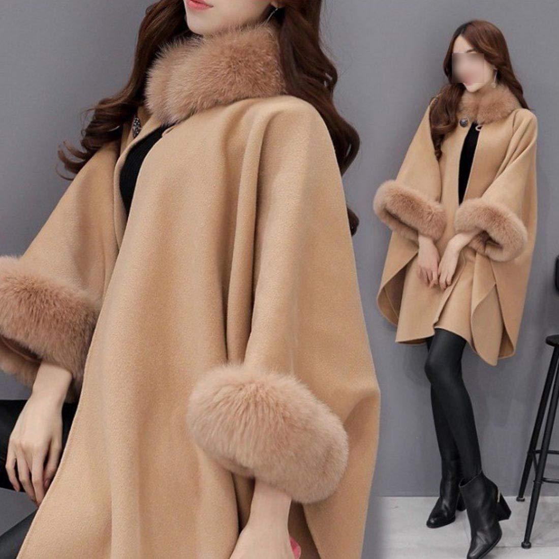YYF Women Coat Faux Fur Cape Trim Shawl Wraps Woollen Outwear Warm Winter Parkas Buckle Collar