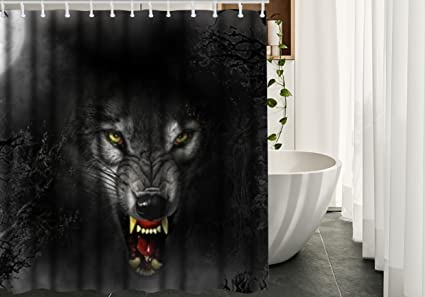 YOUHOME Cool Wolf Face Waterproof Fabric Polyester Shower Curtain  72u0026quot;X72u0026quot; Bathroom Decor