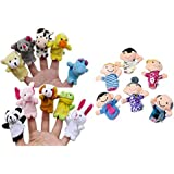 Auxma 16PC Story Finger Puppets 10 Animales 6 Personas Miembros de la familia Educational Toy