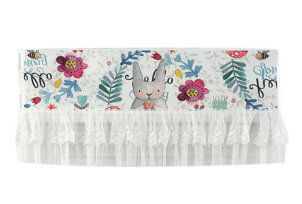 Gentle Meow Home Restaurant Dustproof Air Conditioner Cover, Flowers Grass and Rabbit