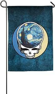 Anuoge American Grateful Skull Starry Night Garden Flag 18*27inch