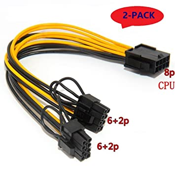 LZH (2 PCS) CPU 8pin a tarjeta de video gráfica Doble PCI-E 8Pin ...