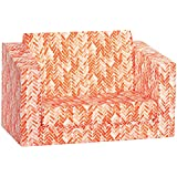 Hayes and Harper Toddler Couch Kids Sofa Kid fold Out Chair Baby couches flip Open Chairs Girls Boys Toddlers Sofas (Coral)