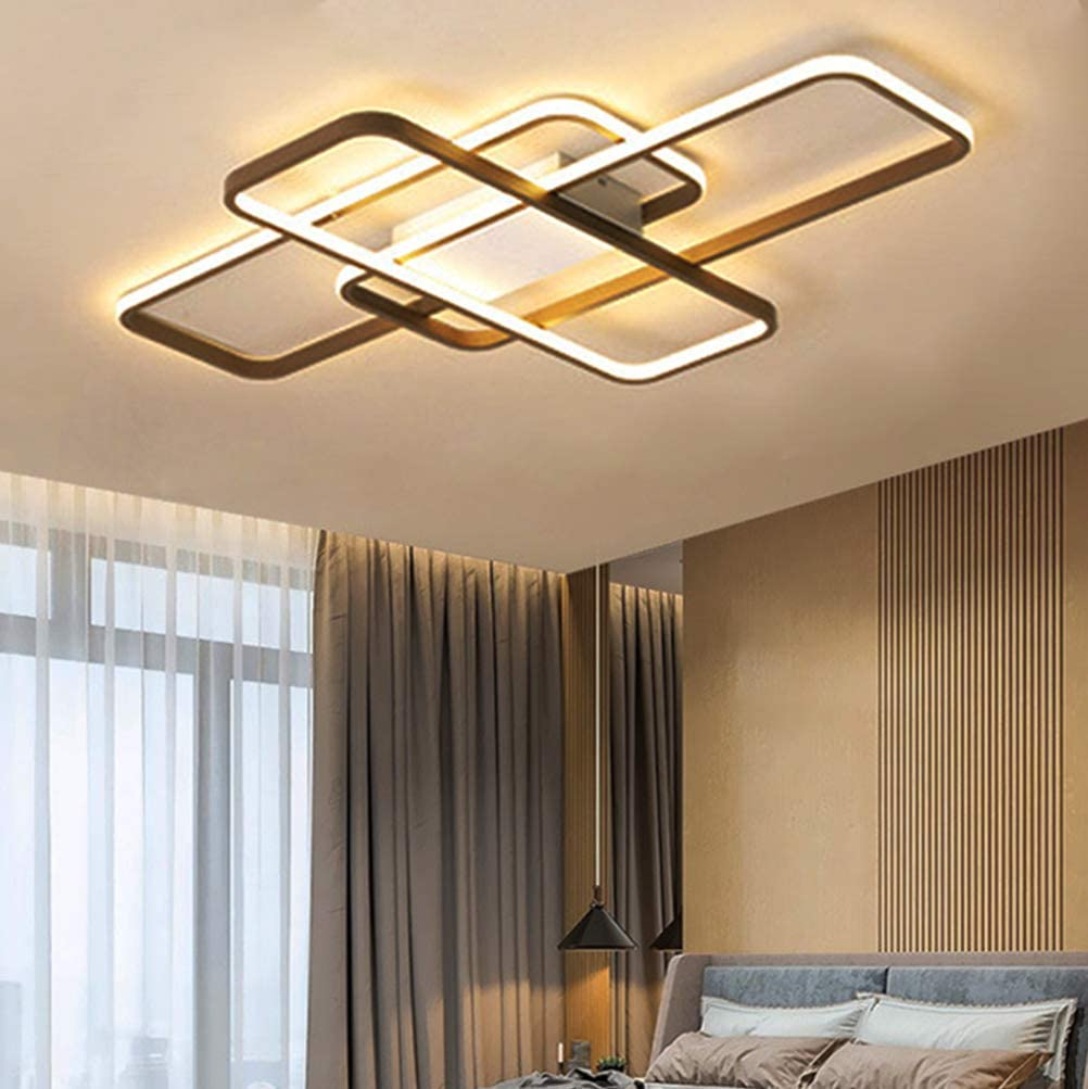 Modern LED Ceiling Lamps Living Room Bedroom Dining Room Decor Lighting Fixtures Hanging Flush Mount Chandelier Contemporary Brown Square Designs Remote LED Ceiling Lights for Kitchen Island Bathroom
