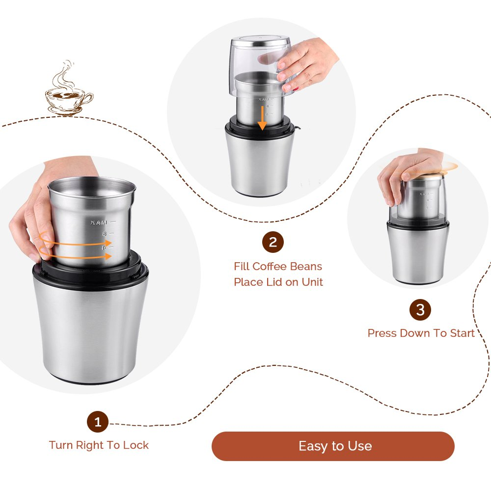 Black EASEHOLD 200W Electric Whole Coffee Grinder Bean and Spice Grindering with Stainless Steel Blade 75g Capacity