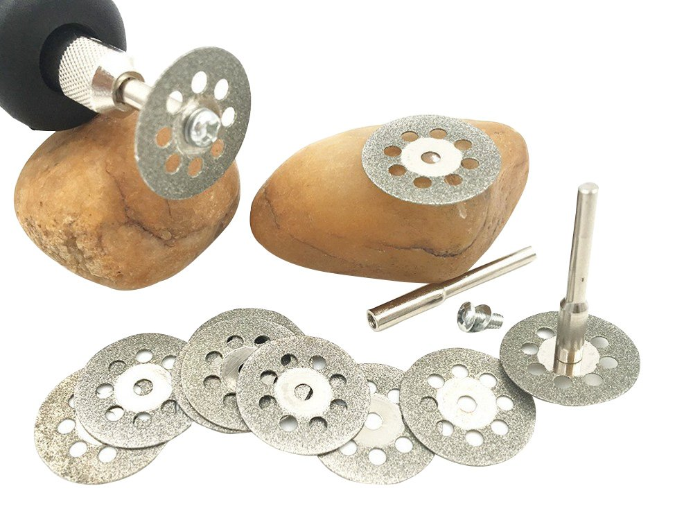 10 pcs Diamond Cutting Wheel (22mm) 10pcs with 402 Mandrel (2mm) 2pcs and Screwdriver for Dremel Rotary Tool#DMJYSJP-22 hothuimin